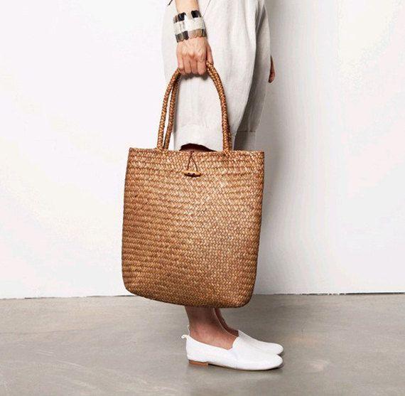 Handmade Weave Straw bag women shoulder bag tote Handbag Summer Beach bag brown on Etsy, $28.50