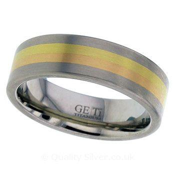 Geti Flat Titanium Rose and Yellow Ring