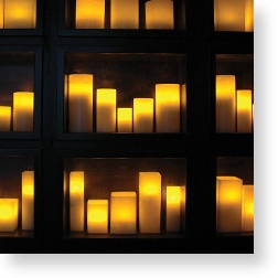 Artificial/Electrical candles, which look very realistic, but are not dangerous for the surrounding and can be left on for very long periods of time.