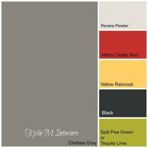 benjamin moore colour paint palette using chelsea gray, green, yellow, red and black