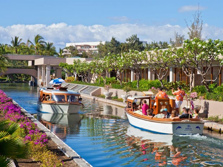 The Hilton Waikoloa Village is so huge that guests will appreciate having the tram and canal boats to explore all 62 acres of this oceanfront resort.