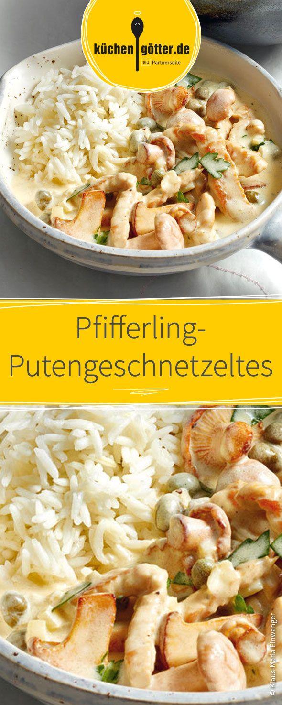 Ein Pilz-Rezept zum verlieben. Bissfester Reis in Kombination mit frischen Pfifferlingen, zartem Putengeschnetzeltes und einer cremigen Soße aus trockenem Weißwein und feiner Crème fraîche.