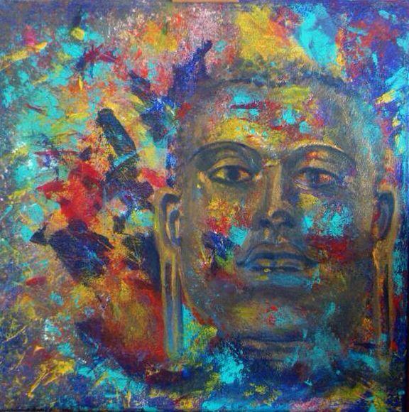 Deze Buddha heb ik geschilderd na mijn reis door Sri Lanka.