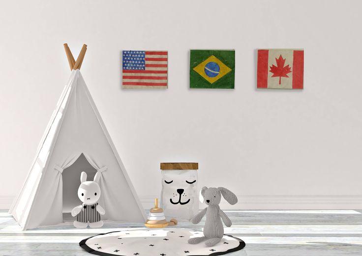 Una bandiera quadro per cameretta. Bandiere da abbinare per arredare spazi giovani, studio,stanza ragazzi. Stati del mondo, pace e libertà. di FerrariSoniArt su Etsy
