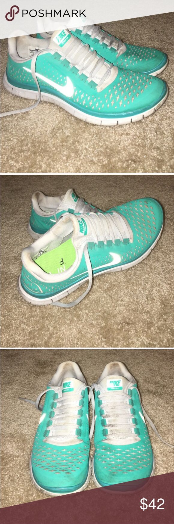 Tiffany blue Nike Tiffany blue/ mint colored Nike free runs. I'm re-poshing because the 8.5 was too big for me. Nike Shoes Athletic Shoes