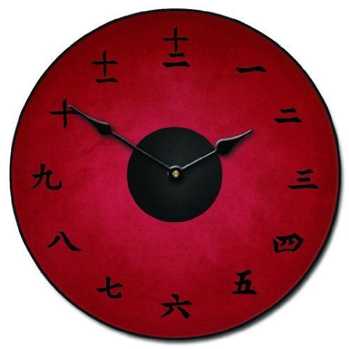 wall décor is mystical, captivating and beautiful and makes any room in your  home warm and inviting. You can get all  kinds of inspiration by these beautiful pieces of Asian home décor. Especially when you combine Japanese canvas art,    Kanji Red Wall Clock, Available in 8 sizes, Whisper Quiet, non-ticking