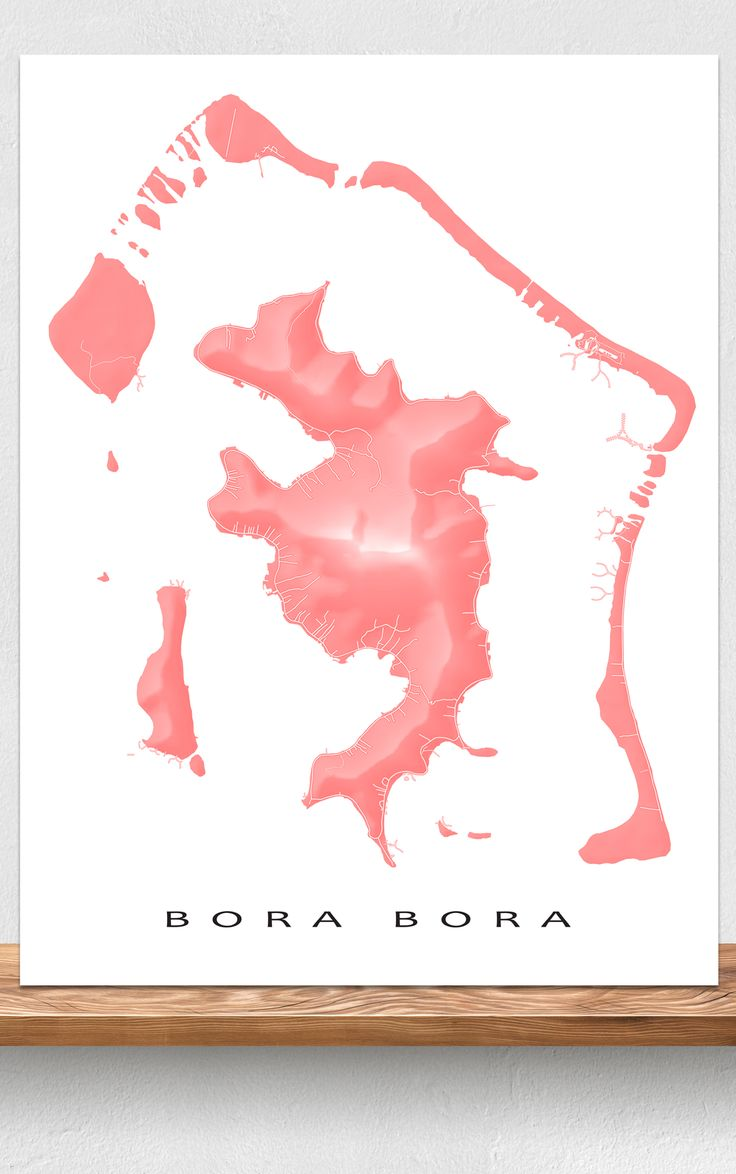 Bora Bora map art print featuring the natural landscape and island streets/paths by Maps As Art #BoraBora