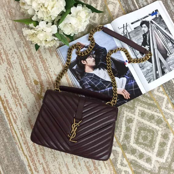 SAINT LAURENT Collège Monogram quilted leather shoulder bag Whatsapp:+8615817091613 for more pics and other payment options.