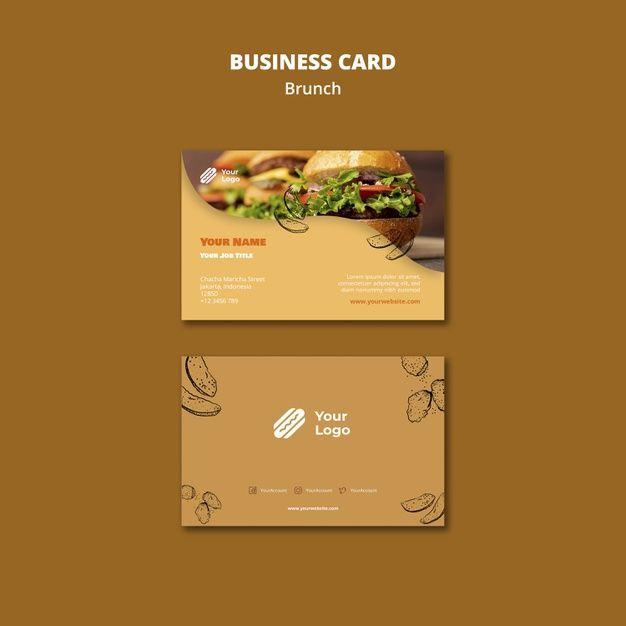 Download Template For Brunch Business Card For Free Restaurant Card Design Restaurant Card Instagram Food