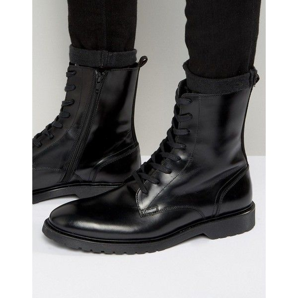 Zign Leather Military Lace Up Boots ($110) ❤ liked on Polyvore featuring men's fashion, men's shoes, men's boots, black, mens leather lace up boots, mens military style boots, mens black shoes, mens leather lace up shoes and mens leather boots
