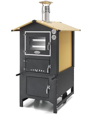 Fornolegna - La dimensione della camera di cottura è 42x80 cm, con una altezza di 40 cm che permettedi cuocere su tre livelli.  Massimo isolamento della temperatura all'interno grazie ai 14 cm di lana di roccia naturale, la temperatura desiderata viene raggiunta con estrema facilità e con il solo impiego di 3,5 kg di legna. Il mantenimento del fuoco avviene, poi, con solamente 1 kg di legna per ora. Provvisto di sistema di ventilazione interna a 12 Volt e pratica illuminazione.