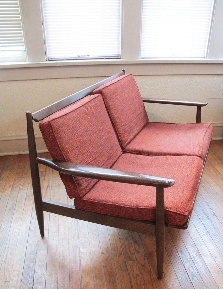 Viko Baumritter Danish Mid Century Mod Sofa Walnut Loveseat 2 Seater Eames  Era | EBay