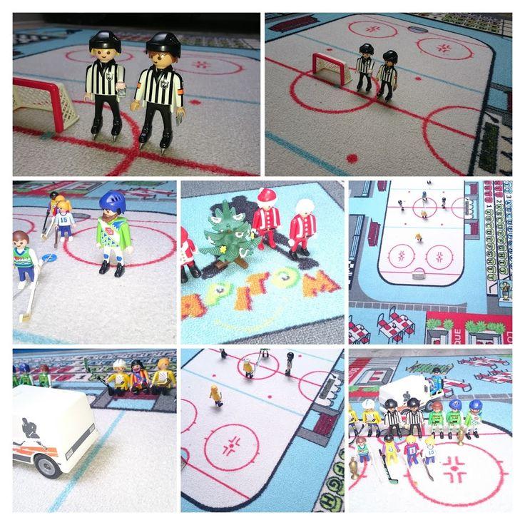 Tapis pour enfant représentant une patinoire pour jouer au hockey sur glace. Rejouez vos matchs, surfaceuse, arbitres ..... #TapisHockey #HockeyPlaymobil #Tapitom #DecorationChambreHockey