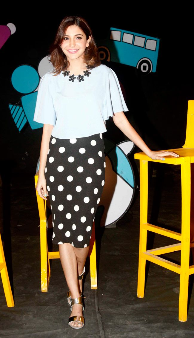 Anushka Sharma on the sets of television show Captain Tiao to promote her new movie PK.