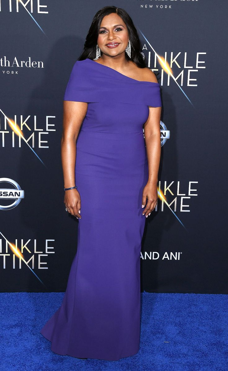 Mindy Kaling Wears A Custom Cobalt Greta Constantine Gown And Belladora Jewels To The Premiere Of A Wrinkle In Time In 2019 Dresses Fashion Best Celebrity Dresses