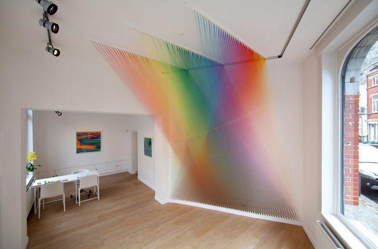 polychromatic thread sculpture by gabriel dawe: The Artists, Color, Textiles Art, Rainbows, Artists Gabriel, Gabriel Said, Products Design, Architecture, White Interiors