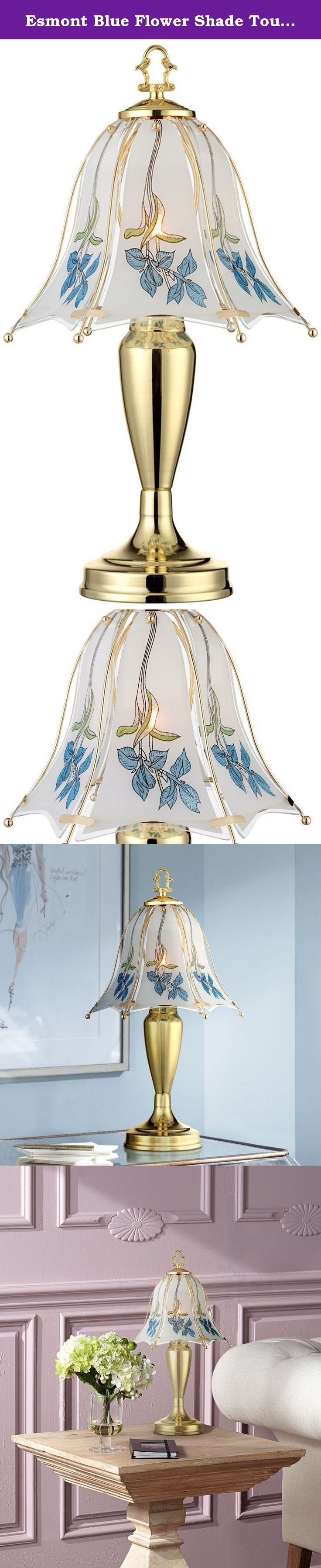 """Esmont Blue Flower Shade Touch Table Lamp. This traditional and elegant style features a convenient 3-touch switch. The glass shade features a lovely floral design in a pale blue hue. Ideal for any formal or traditional style room. From the Regency Hill collection of table lamps. - Touch table lamp. - Metal base. - Glass shade. - 3-touch switch. - Small table lamp size. - 40 watt G9 included. - 18"""" high. - Shade measures 10"""" wide and 8"""" high."""