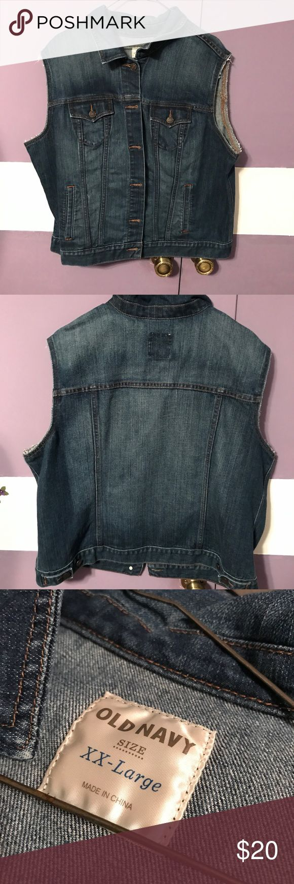 Old Navy Jean Jacket Vest Size is XXL. Has been worn several times. In great condition. Will consider offers, but no trades :) Old Navy Jackets & Coats Jean Jackets