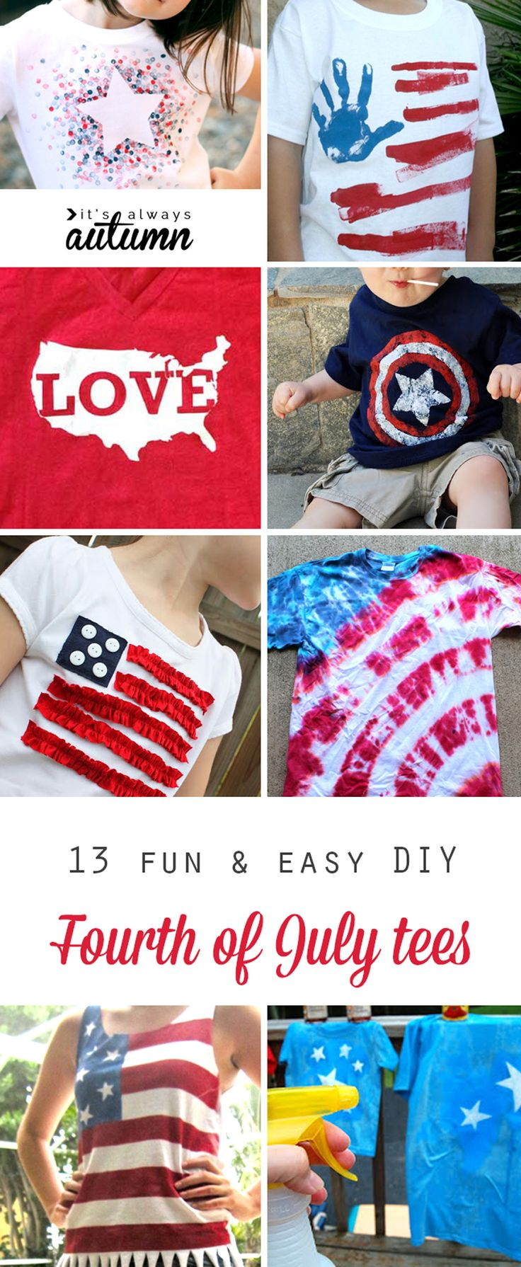 13 fun DIY tee shirts for the Fourth of July. 4th of July shirts you can make with the kids - these are cute! Flags, stars, USA, and more, and more are no-sew!