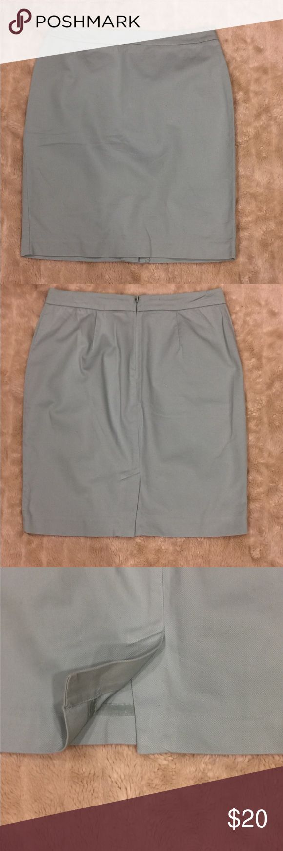 """CAbi Jade Almond pencil skirt Size 6 Mint green; 1 1/2"""" waistband; hidden back zipper w/ hook and eye closure; darting in the back for shaping; 5 1/2"""" back kick pleat; 98% cotton, 2% spandex; Waist - 32"""", Length - 22 1/2"""" CAbi Skirts Pencil"""