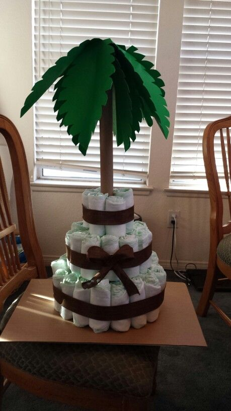 Diaper cake. Palm tree. Jungle baby shower                                                                                                                                                                                 More