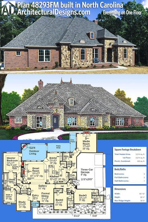 Our client built Architectural Designs French Country House Plan 48293FM in reverse orientation in North Carolina. The home gives you 3 beds, 3.5 baths and over 3,200 square feet of heated living area all on one floor. Ready when you are. Where do YOU want to build? #48293FM #adhouseplans #architecturaldesigns #houseplan #architecture #newhome #newconstruction #newhouse #homedesign #dreamhome #dreamhouse #homeplan #architecture #architect #frenchcountry #3bedhouseplan #europeanhouseplan