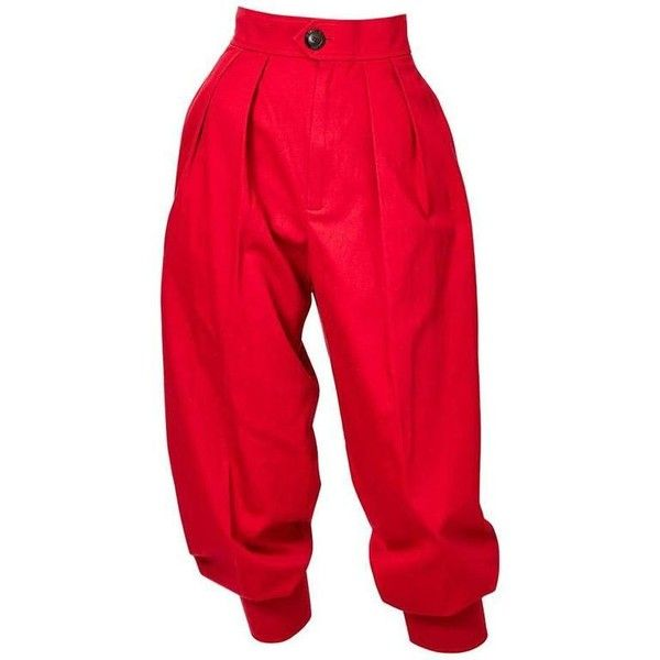 Preowned Yves Saint Laurent Jogger Pant ($695) ❤ liked on Polyvore featuring pants, bottoms, pleated pants, red, cuffed pants, red pants, red trousers, jogger pants and pleated cuffed pants