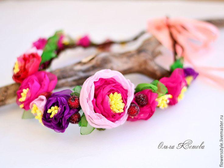 Купить Цветочный венок из шифона украшение с цветами для волос розовый - фуксия, розовый цвет