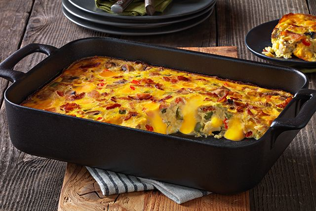 Cheesy Bacon Brunch Casserole - use a combo of cubed american and cheddar cheese, and nitrite free bacon.
