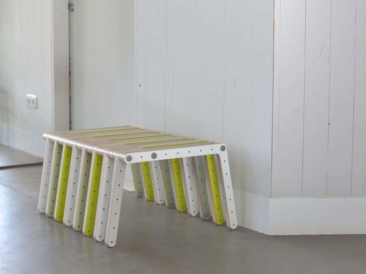 mixed colored bench assembled with redo-me's furniture system.