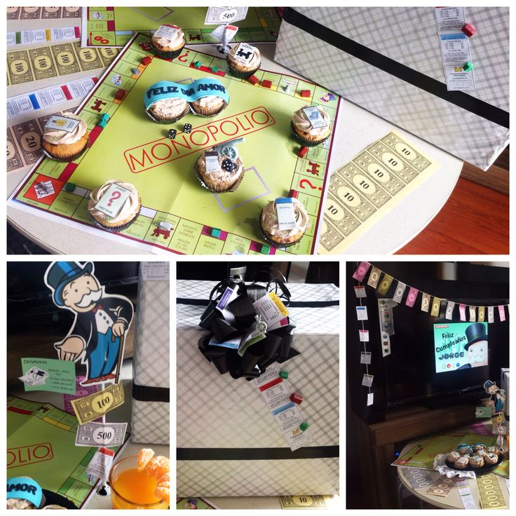 Monopoly game fan surprise for birthday to him. Mesa de sorpresa de cumpleaños con temática de Monopolio. Sorpresa novio cumpleaños. Boyfriend birthday #monopoly #gamer #cards #birthday #original #men #surprise #gift #idea