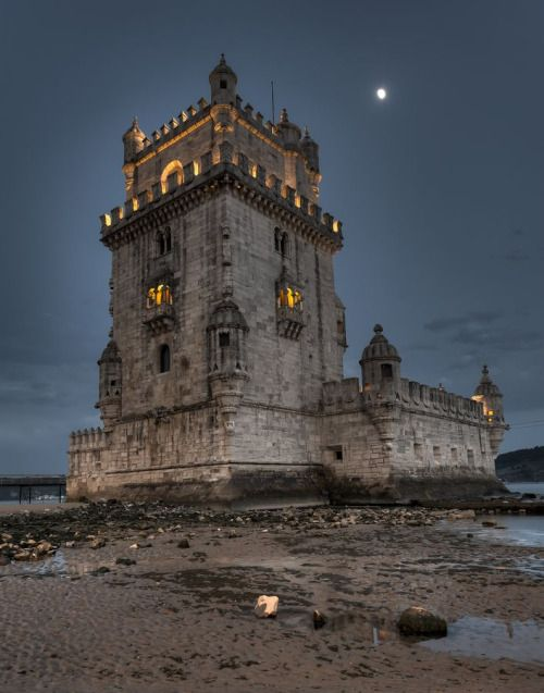 Tower of Belem lighted by the Moon Photographer: nybcnSanta Maria de Belem, Lisbon, Portugal.