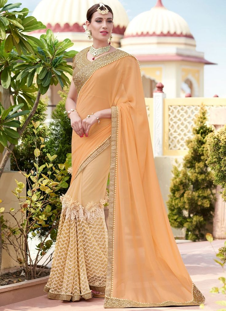 Buy Dazzling Embroidered Work Georgette Designer Traditional Saree  #sarees #saree #sari #designersaree #sareebuzzlove #sareebuzz #weddingsarees #weddingfashion