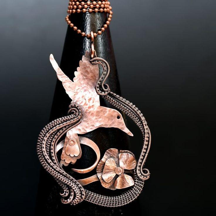 wire wrap pendant,copper pendant,wire wrap jewelry,copper necklace,opal necklace,wire wrap opal,garnet jewelry,wire weave,wire work,handmade jewelry,artisan jewelry, hummming bird necklace, humming bird, poppies, poppy jewelry