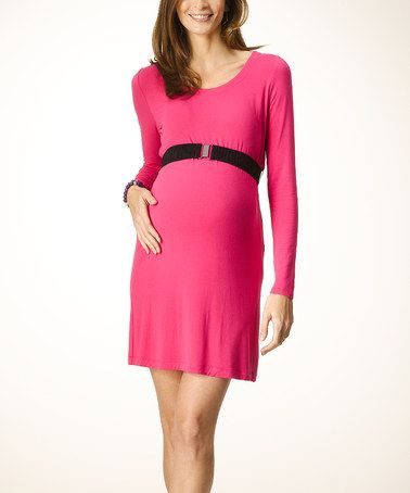 Take a look at this Fuchsia Belted Greenwich Maternity Dress by Rosie Pope Maternity on #zulily today! $74.99