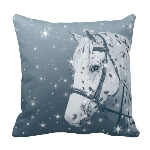 Horse Leopard Appaloosa Winter Christmas Snowy Pillows This toss pillow features original horse art by Renee Forth Fukumoto of an elegant Leopard Appaloosa horse head, wearing a bridle, in shades of blue with a snow flake pattern. Create a pretty, winter horse theme for your living room or bedroom. Perfect gift for horse lovers of all ages.