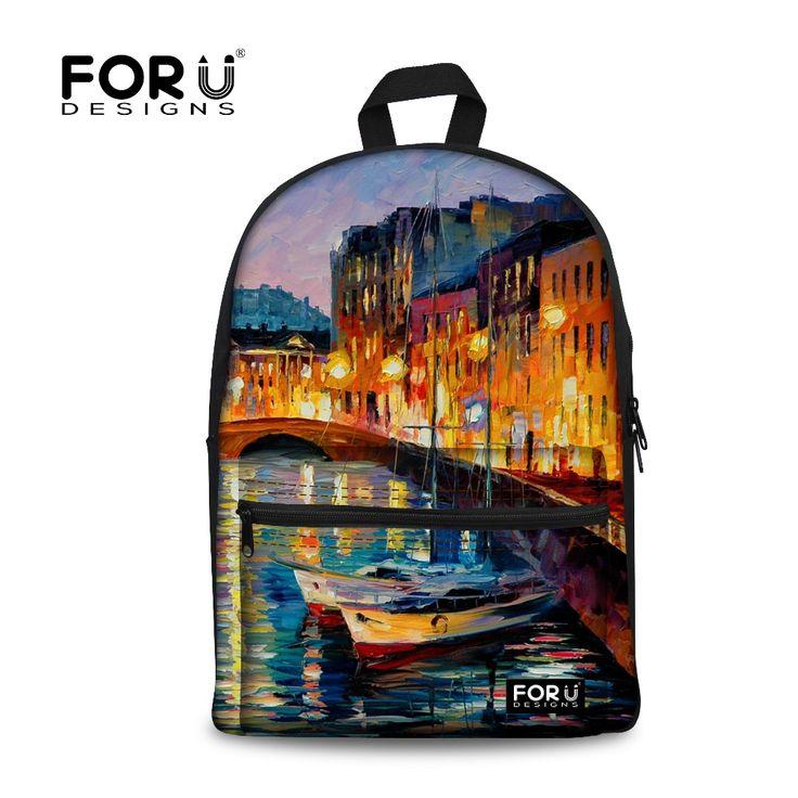 FORUDESIGNS Fashion Venice Oil Painting Backpacks For Teenage Girls Women's Printing Backpack Mochila Feminina Women Bagpack  #Affiliate