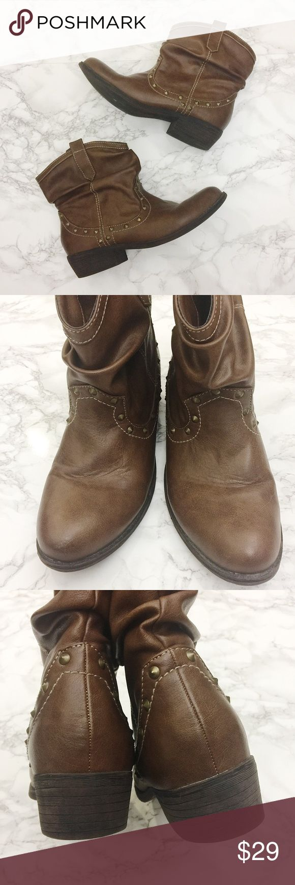 Report Brown Studded Booties Brown slouchy booties with studs. Like new condition. Report Shoes Ankle Boots & Booties