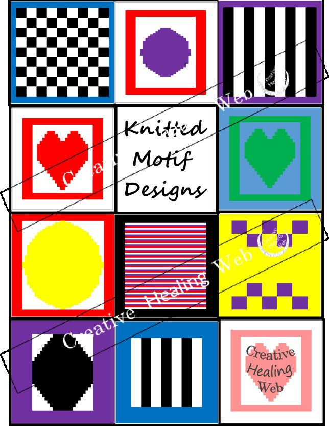 10 knitting graph and pattern designs by CreativeHealingWeb on Etsy. Knitting instructions included.