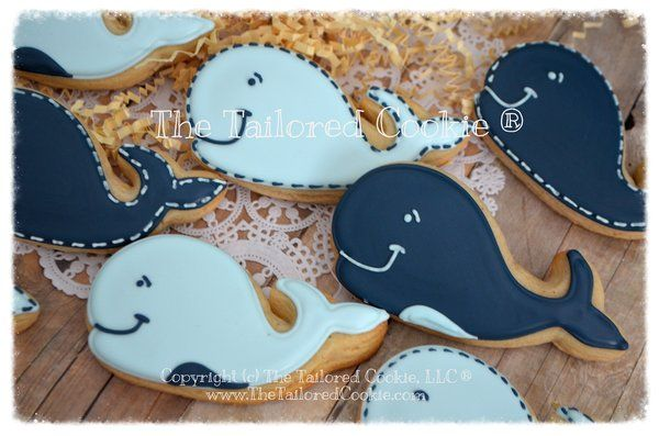 Whale Decorated Cookies Baby Shower Favors Nautical Sugar Cookies | The Tailored Cookie