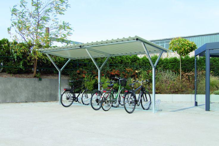 Fahrradüberdachung Z8 Dachlänge x Dachtiefe 4,80 m x 2,40 m, Stahlkonstruktion feuerverzinkt, Dacheindeckung Trapezblech