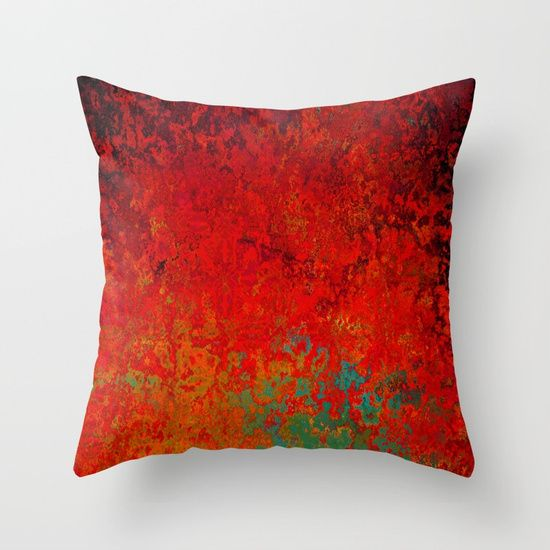 Figuratively Speaking, Abstract Art, Bright Red, Gold, Turquoise and Black, Throw Pillow