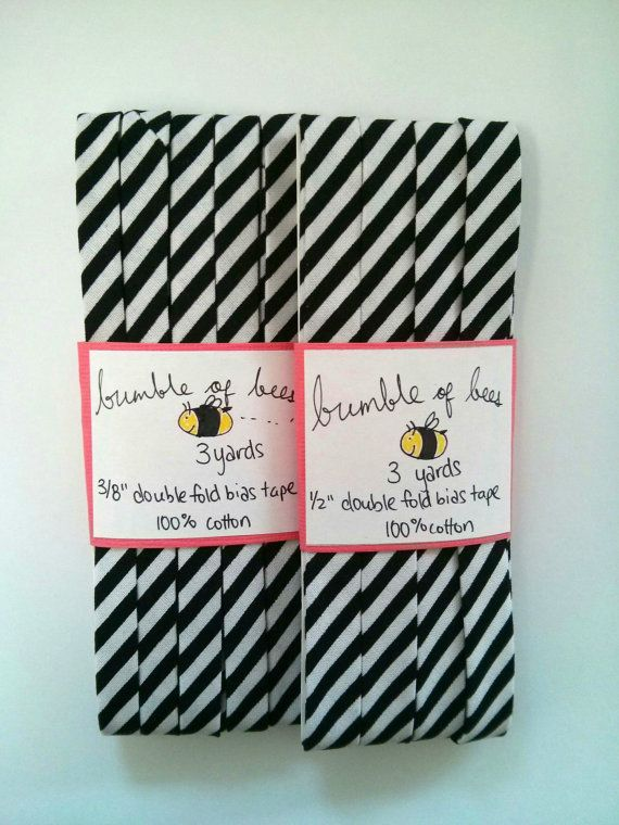 "Diagonal Black and White Stripe Double Fold Gauze Bias Tape - 3 yards, CHOOSE 3/8"" or 1/2"" wide"