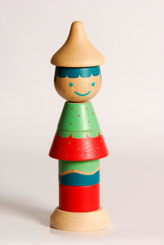 Large Stacking Doll (SUMSUM), Wooden Stacking Toy, Wooden Doll, Colorful Wooden Beads
