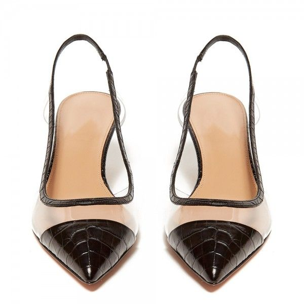Black Bamboo Grain Patent Leather Clear Kitten Heel Slingback Pumps For Date Going Out Fsj Fsjshoes Loveshoes Sandals Sho Slingback Pump Heels Slingback