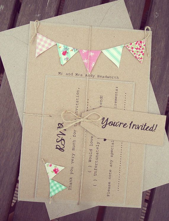 Pink and Mint Wedding Invitation Rustic by FromLeoniWithLove