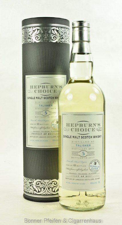 Talisker Whisky 2011 5 y.o. - Region : Inseln/Skye - 46 % alc./vol. 0,7l nicht kühlgefiltert Fassart : Refill Hogshead Nase : Meersalz, Jod, Algen, maritim, nasses Heu, Süße und etwas Torf Geschmack : Prickelnd, leichte Süße, Pomelo, nasses Heu, trocken Finish : Frisch, etwas Rauch, Eiche und sehr trocken Abfüller : Hepburn's Choice Distillery : 2011 Bottled : 2017 5 y.o. Single Cask Abfüllung; 406 Flaschen