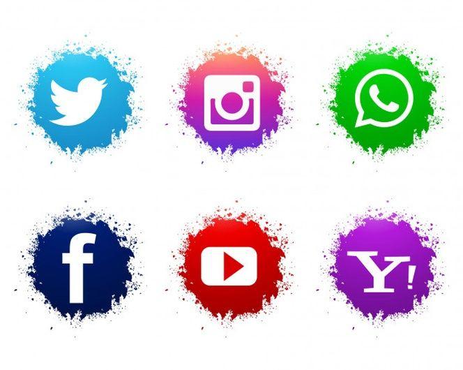 Conjunto De Iconos Abstractos Acuarela Redes Sociales Simbolos De Redes Sociales Conjunto De Iconos Iconos De Redes Sociales