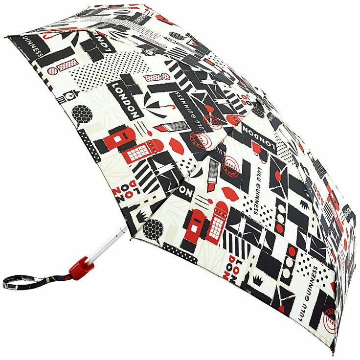 Lulu Guinness Tiny Folding Umbrella   London Print   Brolliesgalore