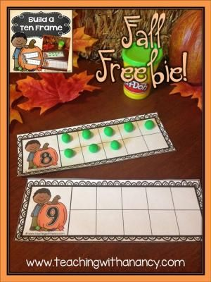 Build a Fall Ten Frame is a prek and Kindergarten math station activity - free download by shauna